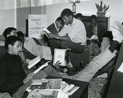 students in the Allen Building study-in, 1967